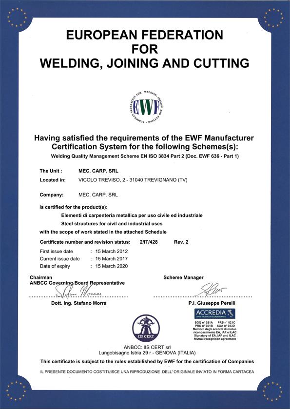 UNI EN ISO 3834 mec carp
